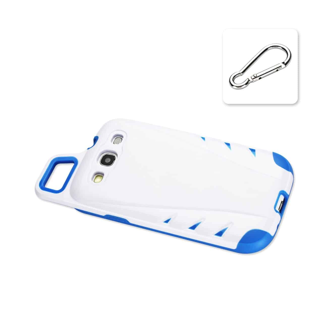 SAMSUNG GALAXY S3 DROPPROOF WORKOUT HYBRID CASE WITH HOOK IN WHITE NAVY