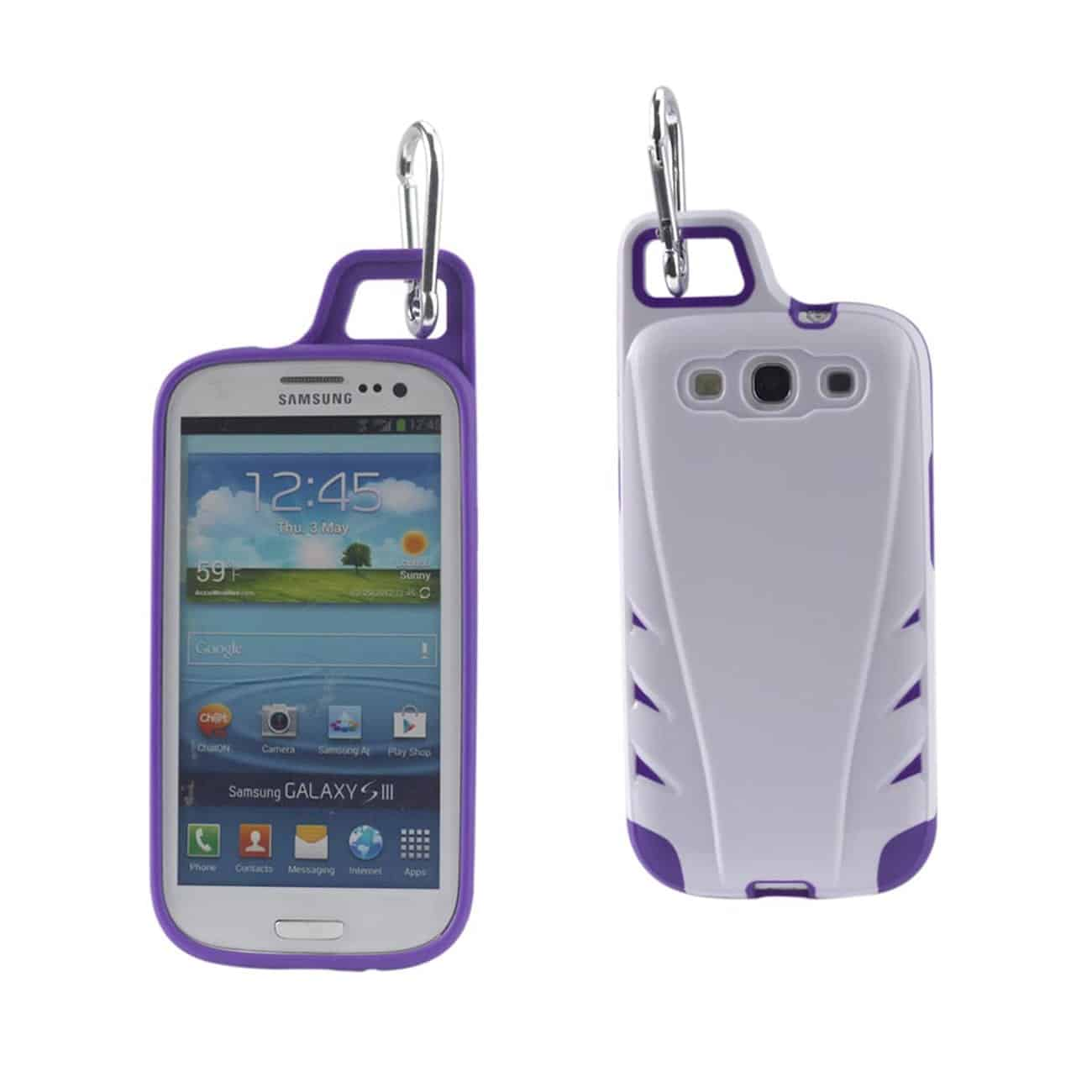 SAMSUNG GALAXY S3 DROPPROOF WORKOUT HYBRID CASE WITH HOOK IN WHITE PURPLE