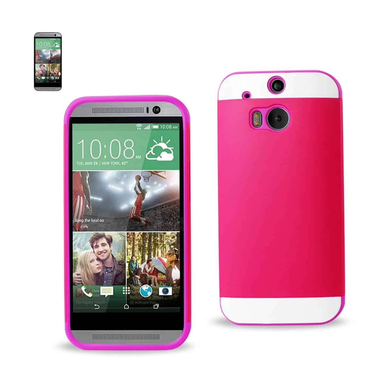 HTC ONE M8 HYBRID CASE WITH CARD HOLDER IN PURPLE HOT PINK