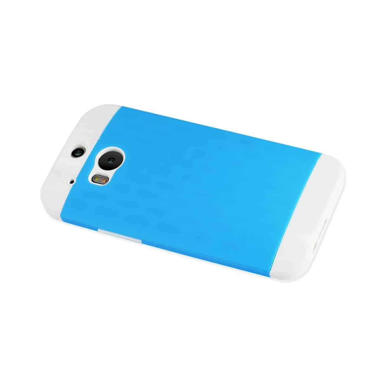 HTC ONE M8 HYBRID CASE WITH CARD HOLDER IN WHITE BLUE