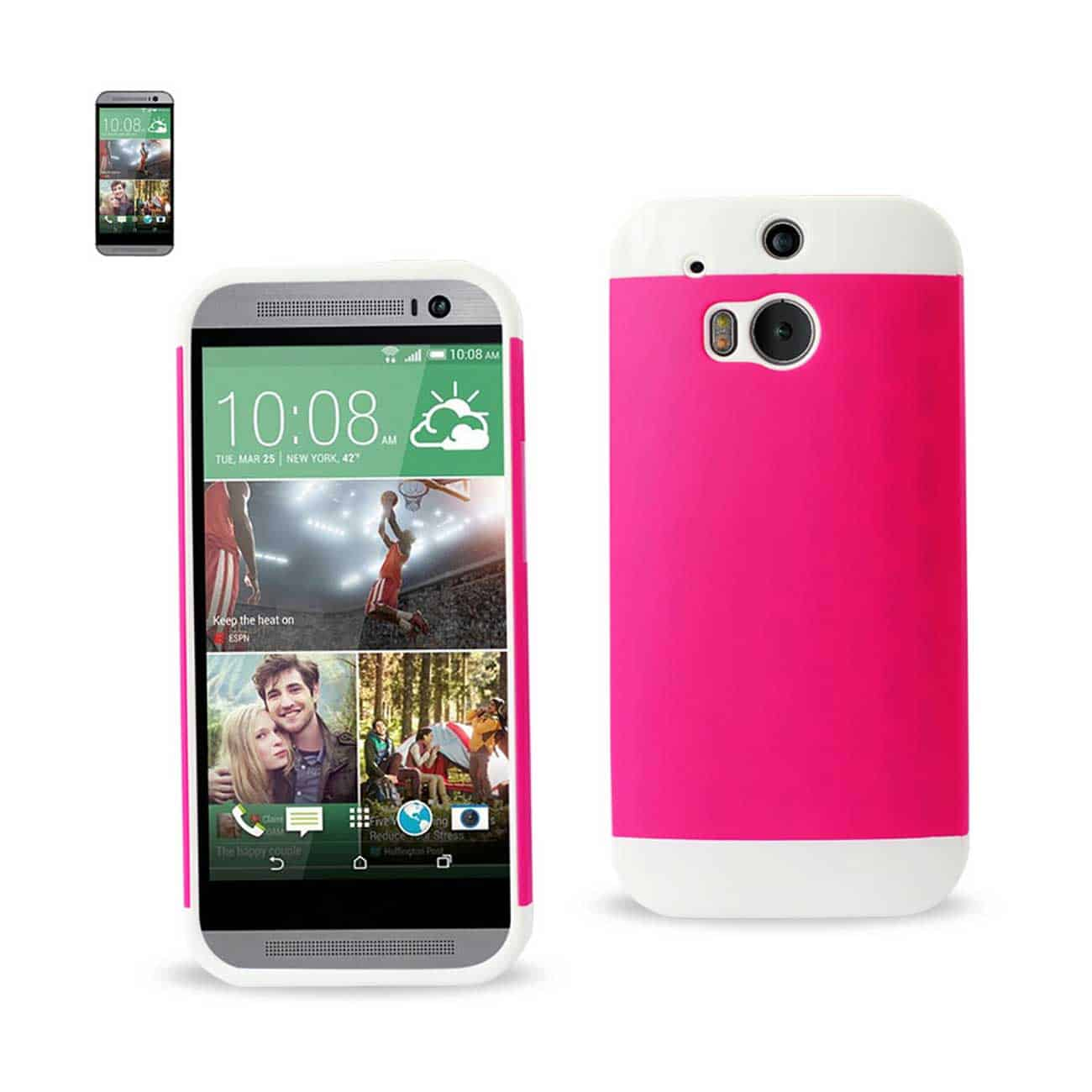 HTC ONE M8 HYBRID CASE WITH CARD HOLDER IN WHITE HOT PINK
