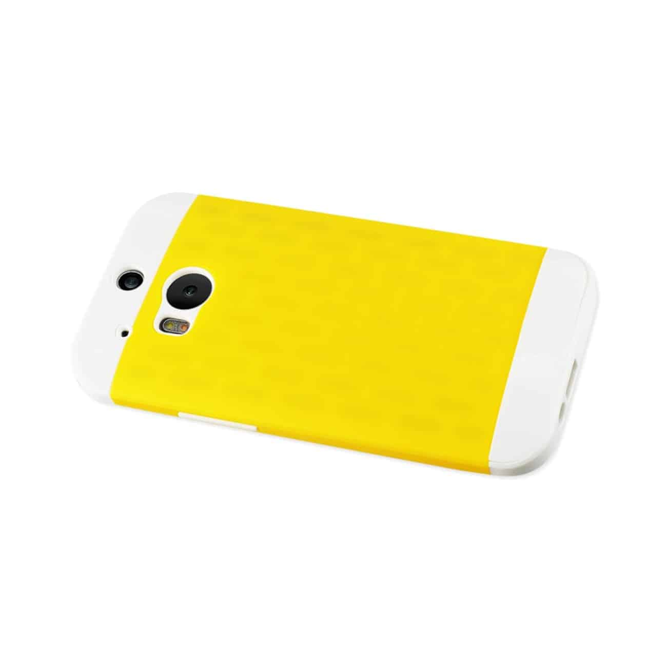 HTC ONE M8 HYBRID CASE WITH CARD HOLDER IN WHITE YELLOW