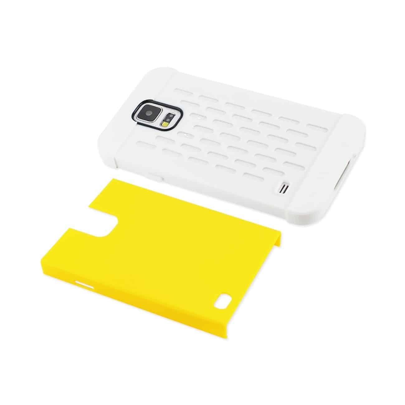 SAMSUNG GALAXY S5 HYBRID CASE WITH CARD HOLDER IN WHITE YELLOW