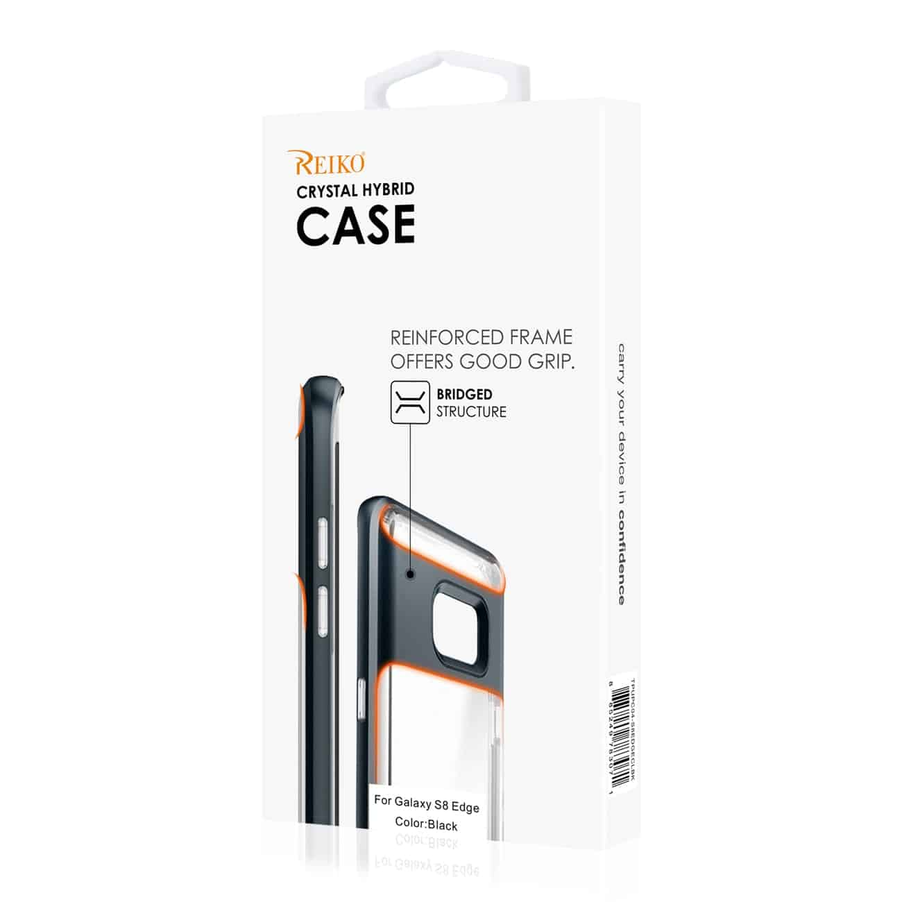 SAMSUNG GALAXY S8 EDGE/ S8 PLUS TRANSPARENT BUMPER CASE WITH KICKSTAND AND MATTE INNER FINISH IN CLEAR BLACK
