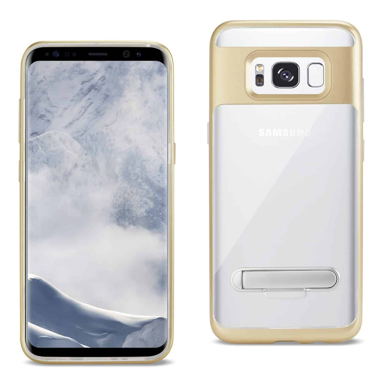 SAMSUNG GALAXY S8 EDGE/ S8 PLUS TRANSPRANT BUMPER CASE WITH KICKSTAND IN CLEAR GOLD