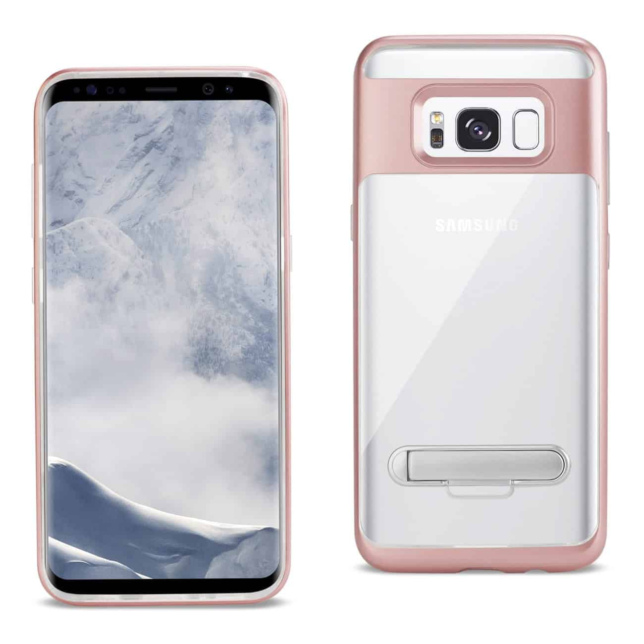 SAMSUNG GALAXY S8 EDGE/ S8 PLUS TRANSPRANT BUMPER CASE WITH KICKSTAND IN CLEAR ROSE GOLD