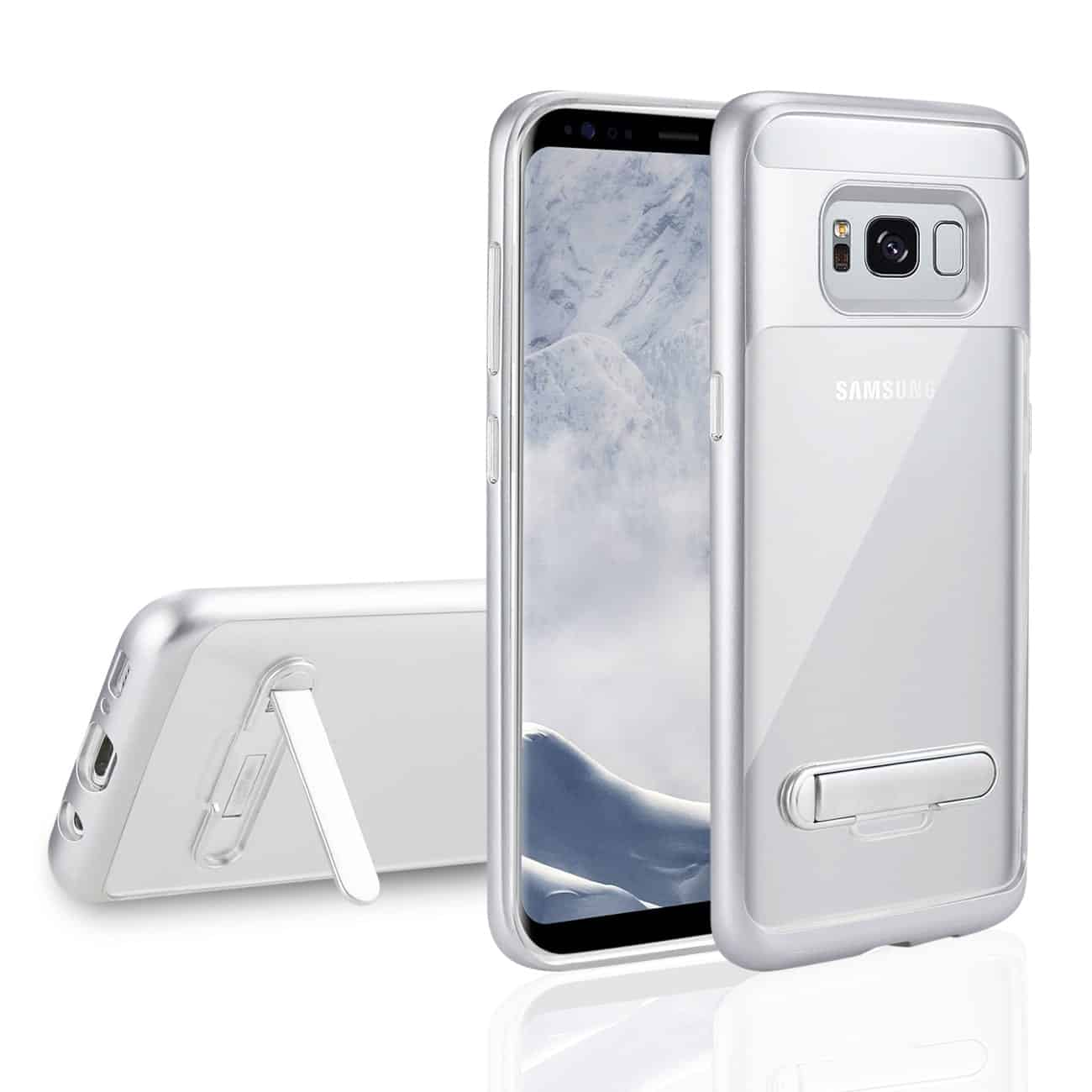 SAMSUNG GALAXY S8 EDGE/ S8 PLUS TRANSPARENT BUMPER CASE WITH KICKSTAND AND MATTE INNER FINISH IN CLEAR SILVER