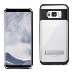 SAMSUNG GALAXY S8/ SM TRANSPARENT BUMPER CASE WITH KICKSTAND AND MATTE INNER FINISH IN CLEAR BLACK