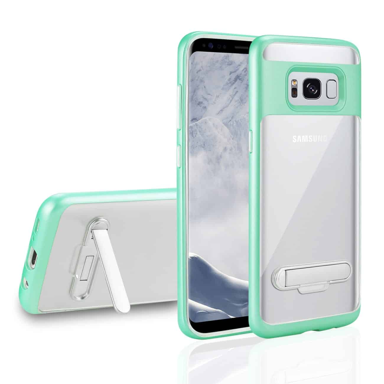 SAMSUNG GALAXY S8/ SM TRANSPARENT BUMPER CASE WITH KICKSTAND AND MATTE INNER FINISH IN CLEAR GREEN