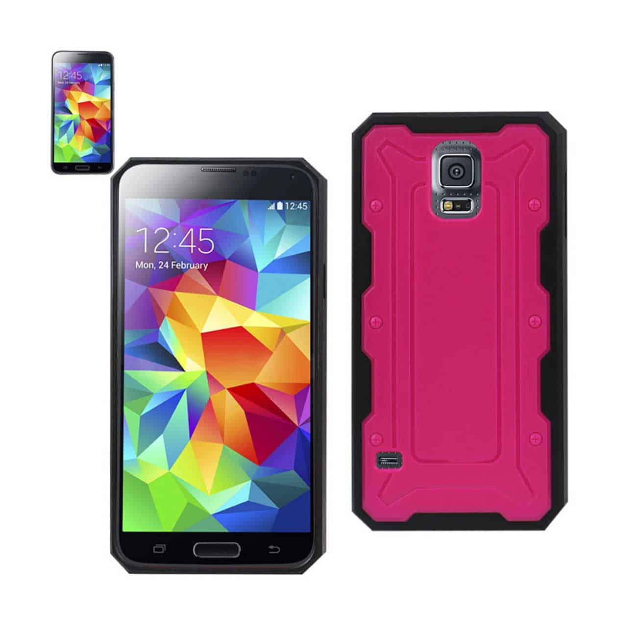 SAMSUNG GALAXY S5 DUAL COLOR TRANSFORMER CASE IN HOT PINK BLACK