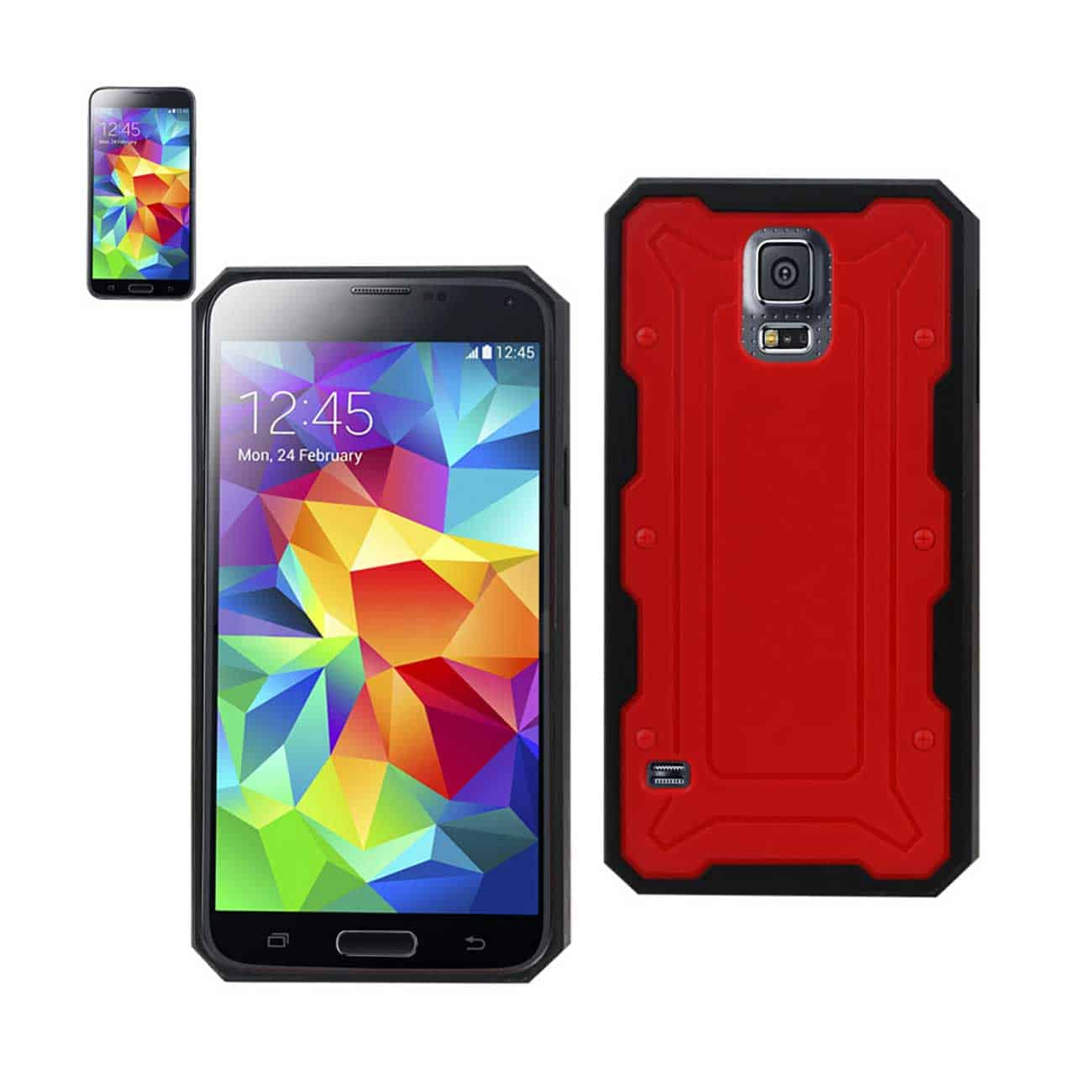 SAMSUNG GALAXY S5 DUAL COLOR TRANSFORMER CASE IN RED BLACK