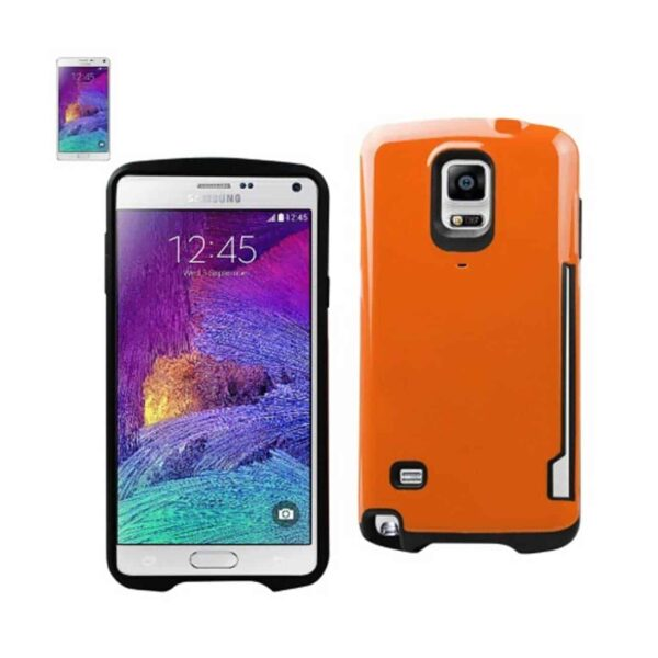 SAMSUNG GALAXY NOTE 4 CANDY SHIELD CASE WITH CARD HOLDER IN ORANGE