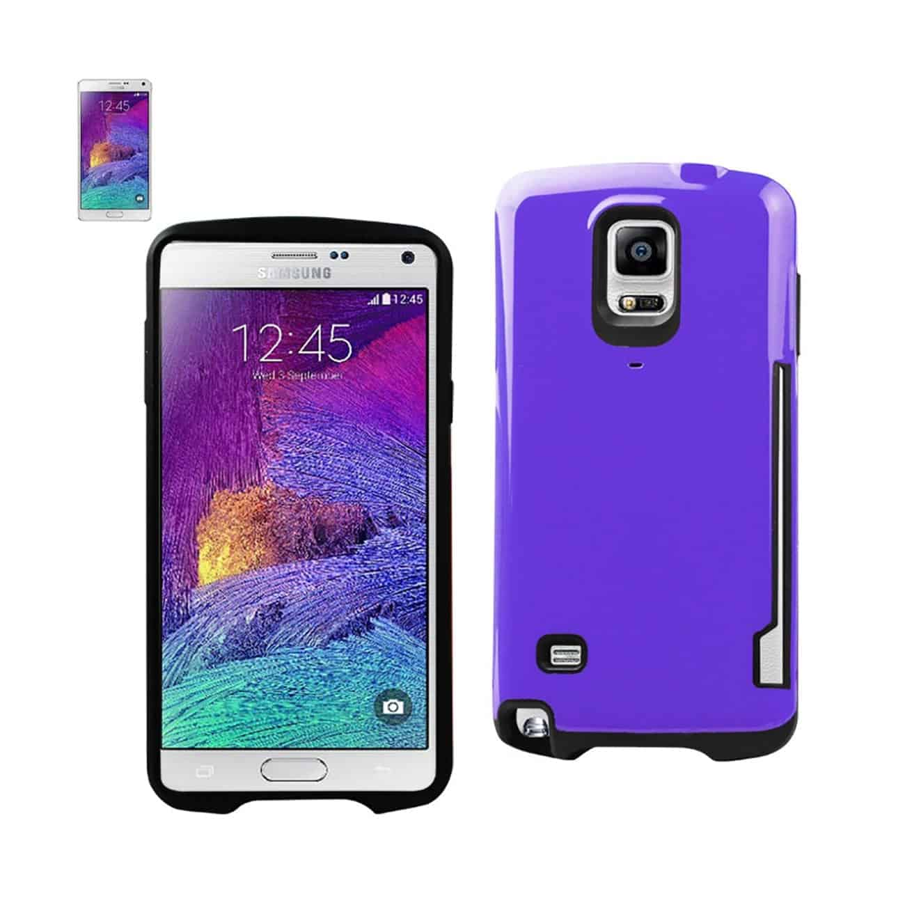 SAMSUNG GALAXY NOTE 4 CANDY SHIELD CASE WITH CARD HOLDER IN PURPLE