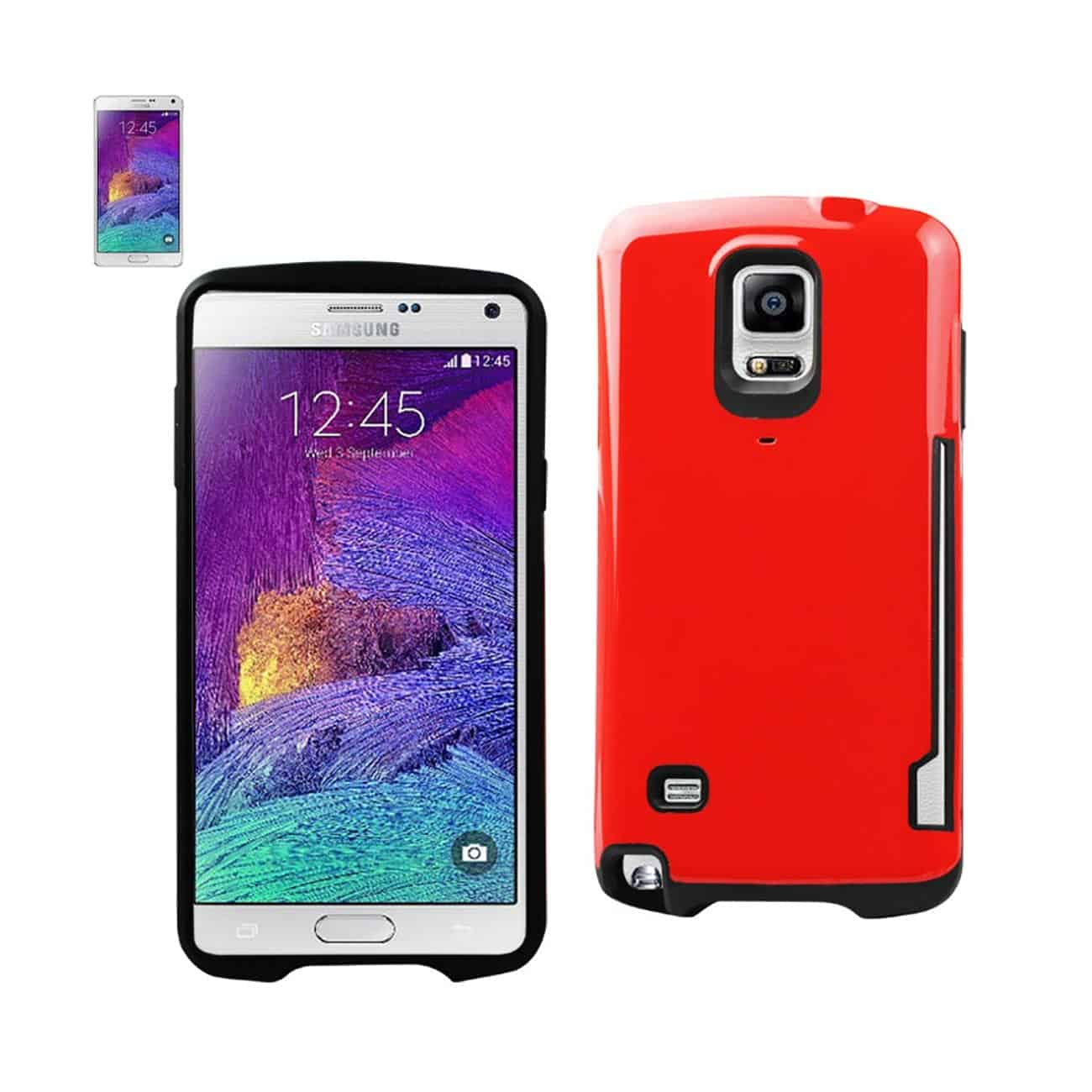 SAMSUNG GALAXY NOTE 4 CANDY SHIELD CASE WITH CARD HOLDER IN RED