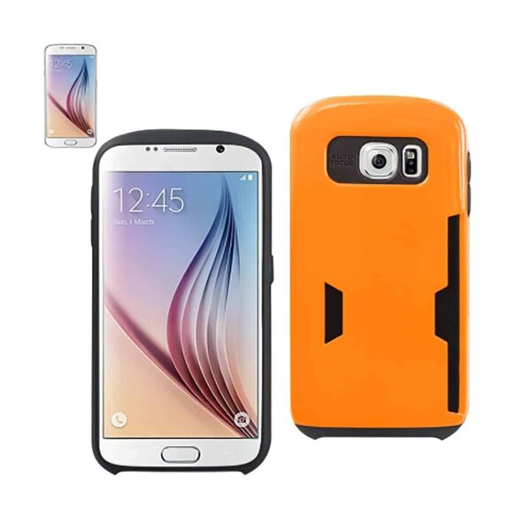 SAMSUNG GALAXY S6 CANDY SHIELD CASE WITH CARD HOLDER IN ORANGE