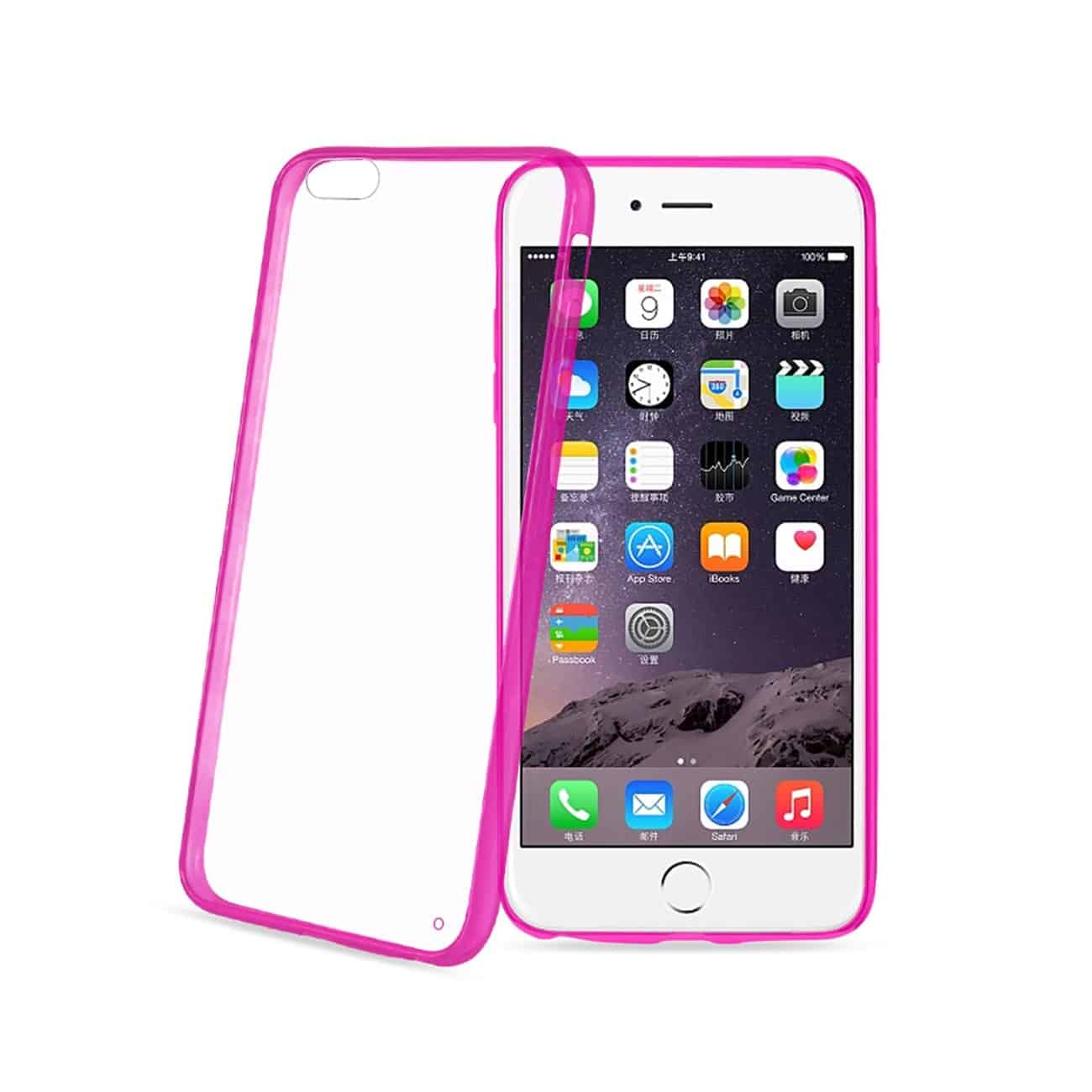 IPHONE 6 PLUS/ 6S PLUS CLEAR BACK FRAME BUMPER CASE IN PINK