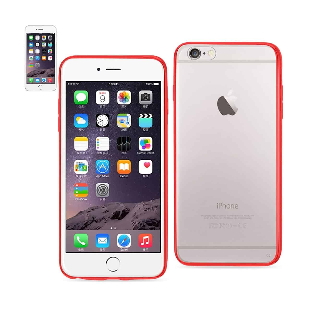 IPHONE 6 PLUS CLEAR BACK FRAME BUMPER CASE IN RED