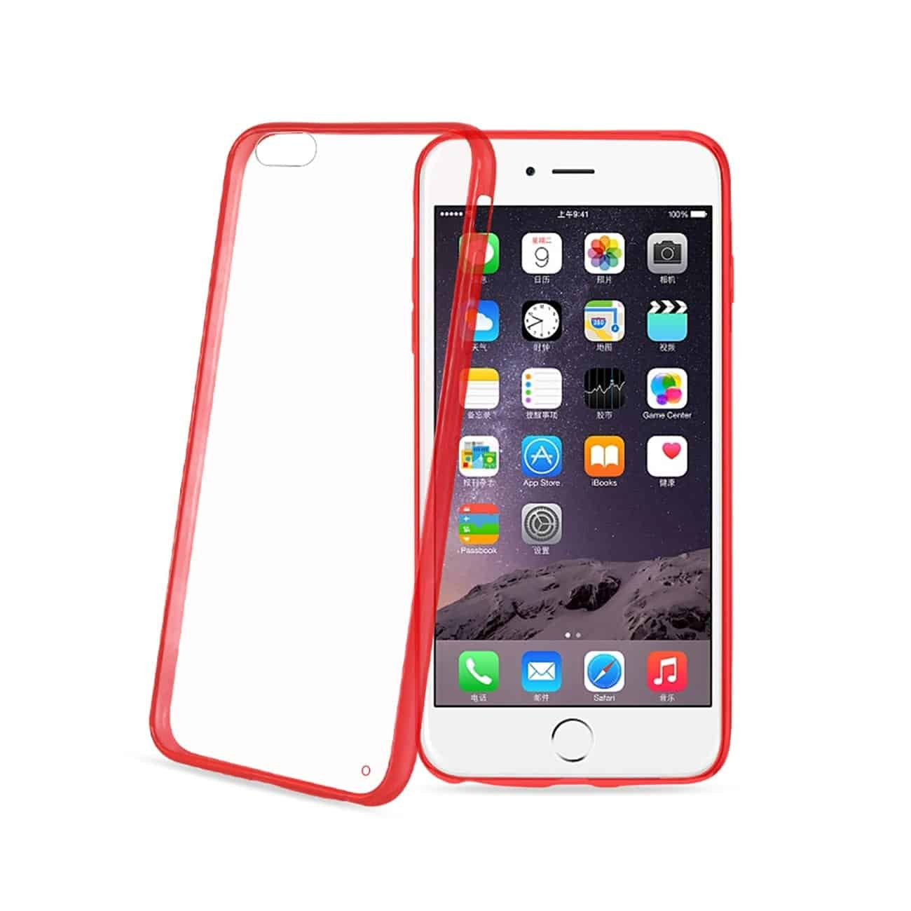 IPHONE 6 PLUS CLEAR BACK FRAME BUMPER CASE IN RED