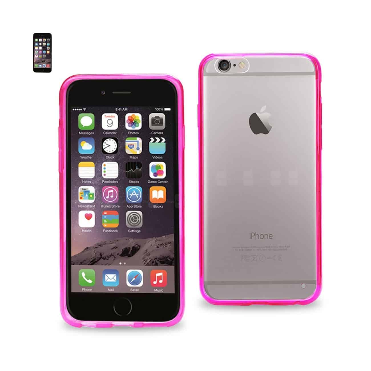 IPHONE 6 CLEAR BACK FRAME BUMPER CASE IN PINK