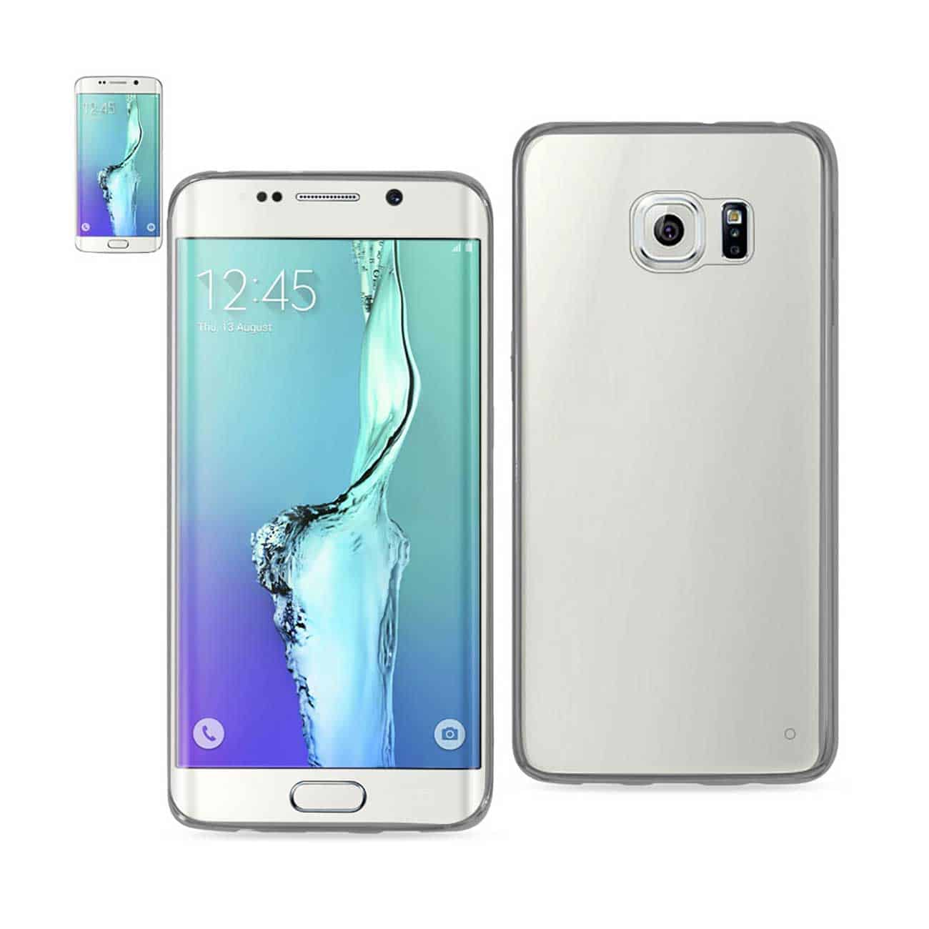 SAMSUNG GALAXY S6 EDGE PLUS CLEAR BACK FRAME BUMPER CASE IN GRAY