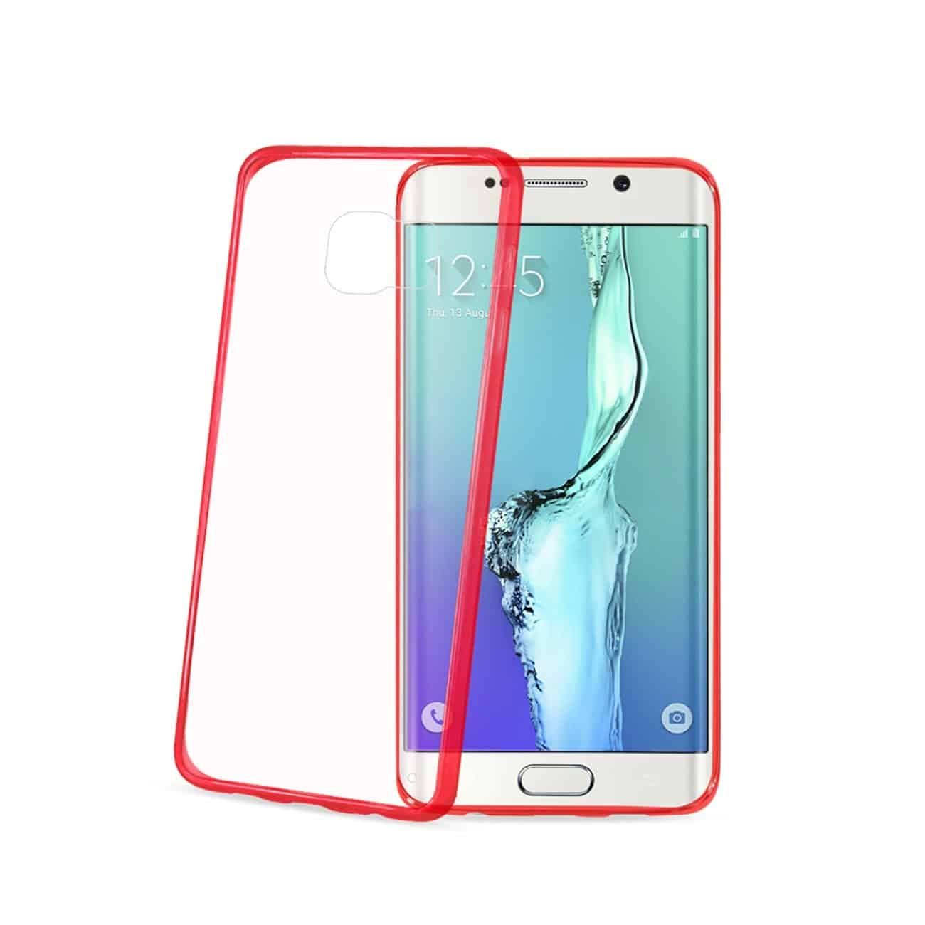 SAMSUNG GALAXY S6 EDGE PLUS CLEAR BACK FRAME BUMPER CASE IN RED