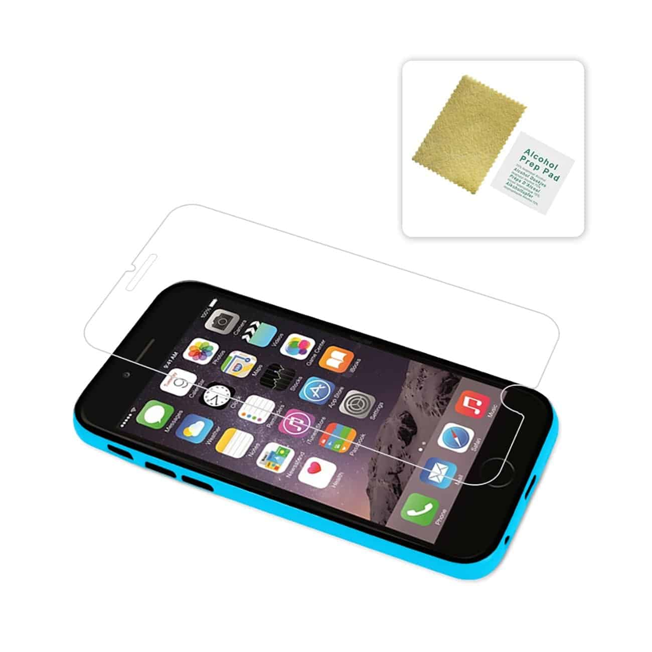 IPHONE 6 BUMPER CASE WITH TEMPERED GLASS SCREEN PROTECTOR IN BLUE
