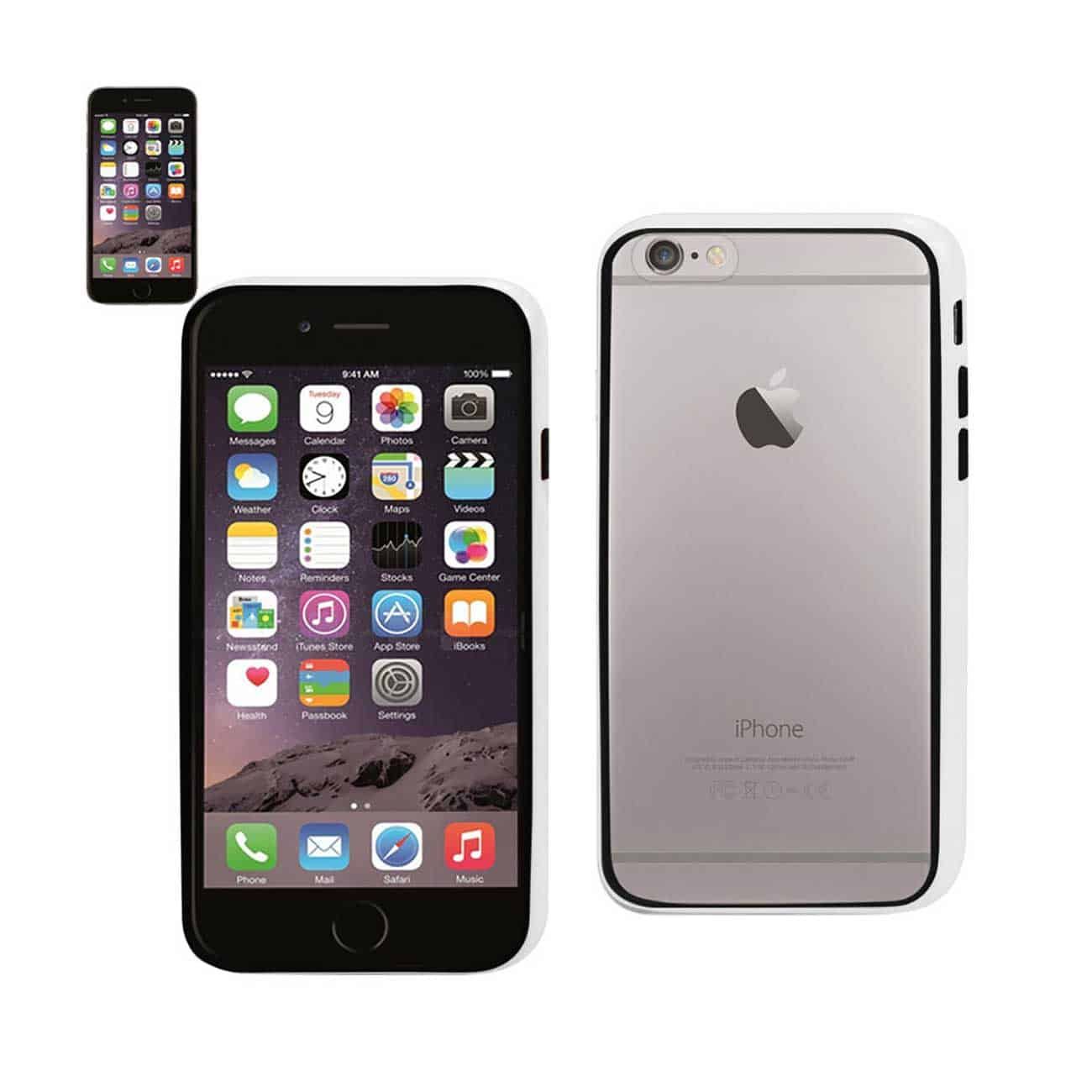 IPHONE 6 BUMPER CASE WITH TEMPERED GLASS SCREEN PROTECTOR IN WHITE