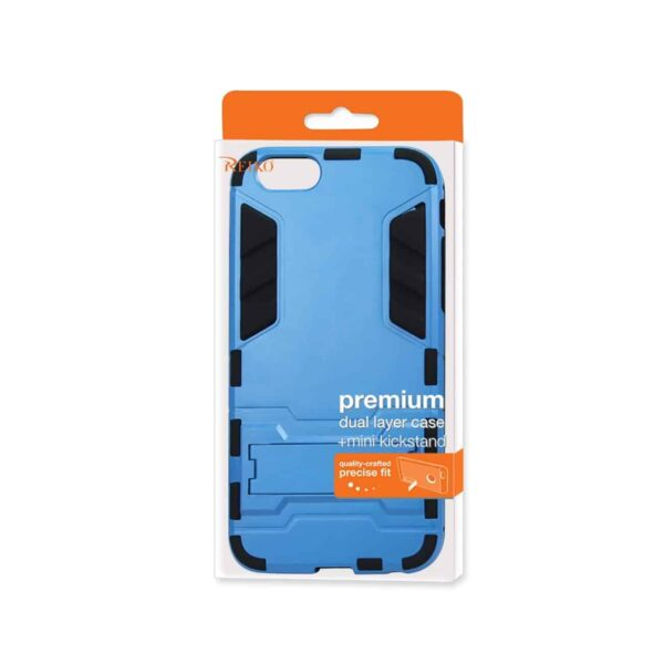 IPHONE 6 PLUS HYBRID METALLIC CASE WITH KICKSTAND IN BLACK BLUE
