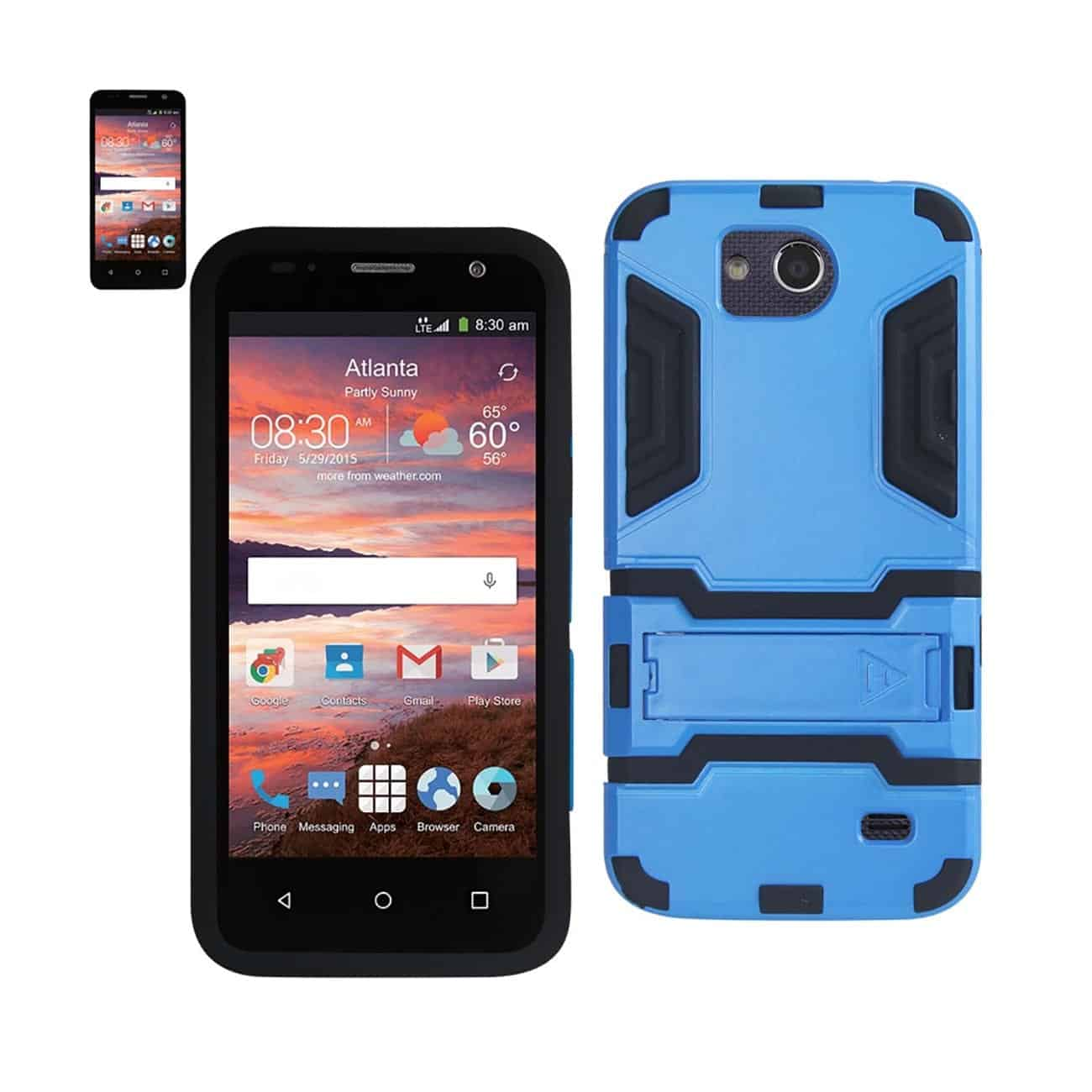 ZTE OVERTURE 2 HYBRID METALLIC CASE WITH KICKSTAND IN BLACK BLUE