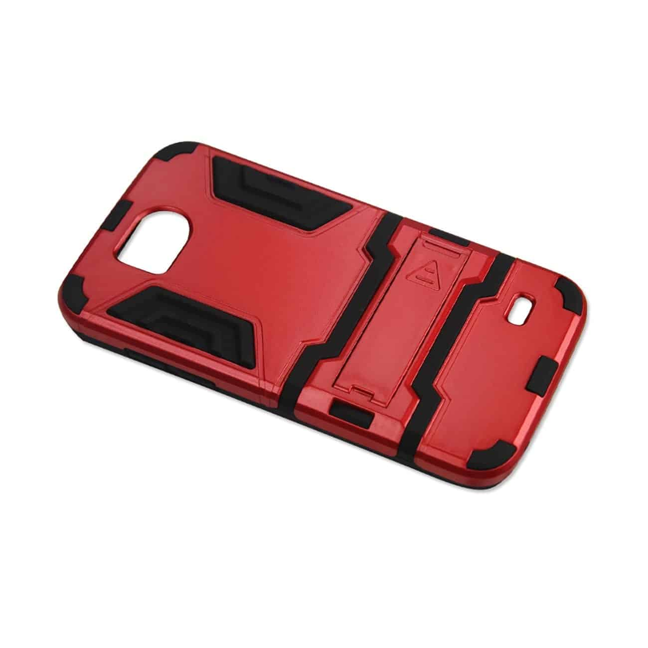 ZTE OVERTURE 2 HYBRID METALLIC CASE WITH KICKSTAND IN BLACK RED