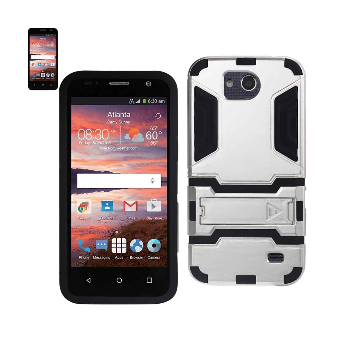 ZTE OVERTURE 2 HYBRID METALLIC CASE WITH KICKSTAND IN BLACK SILVER