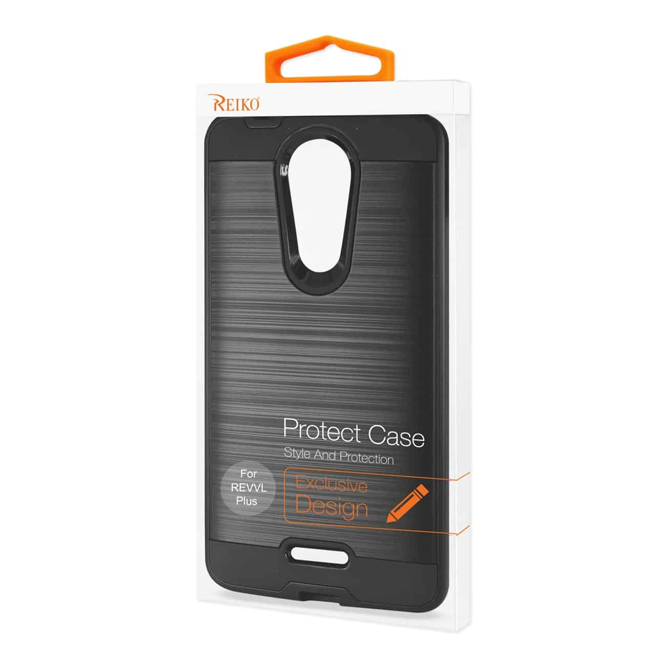 Coolpad REVVL Plus Hybrid Metal Brushed Texture Case In Black