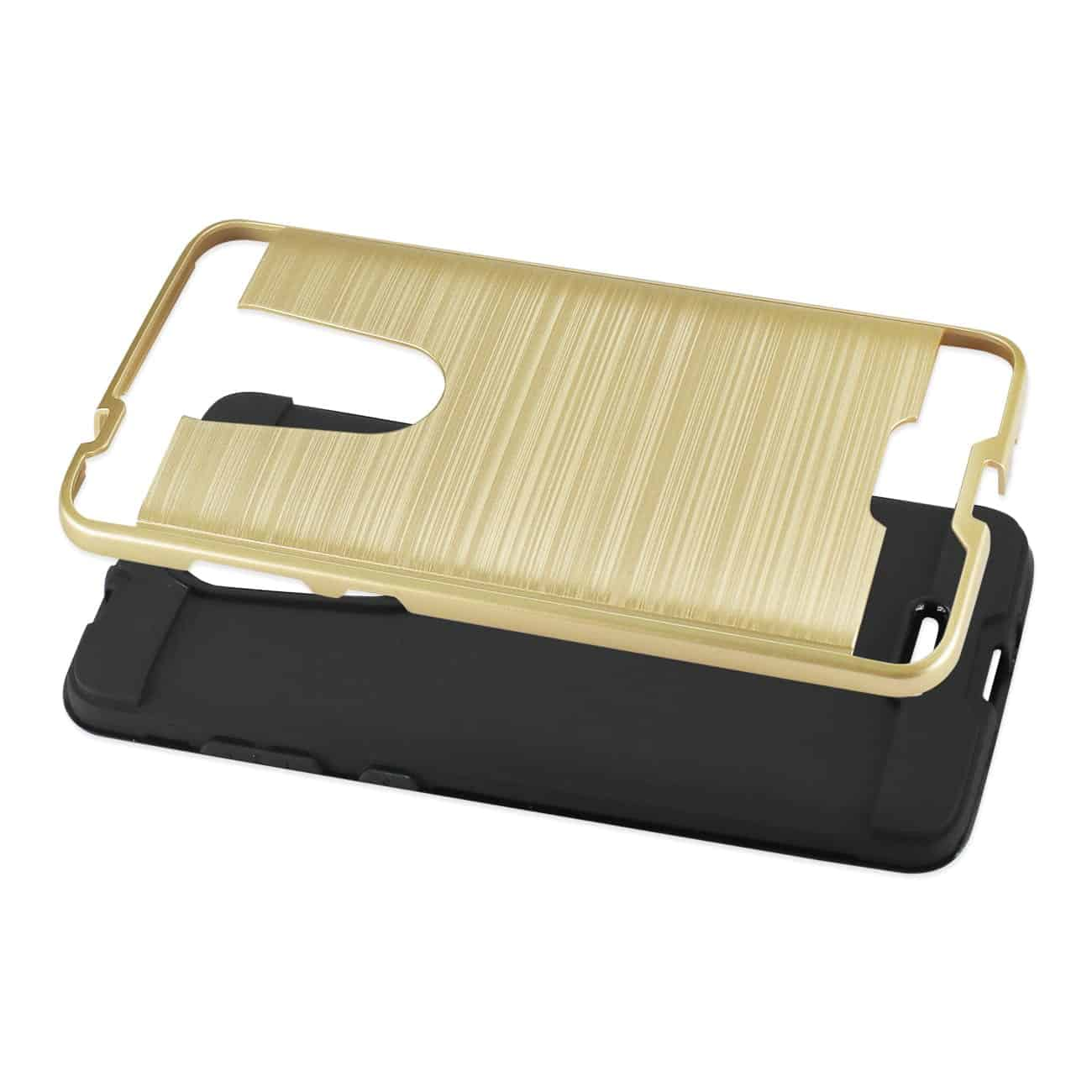 Coolpad REVVL Plus Hybrid Metal Brushed Texture Case In Gold