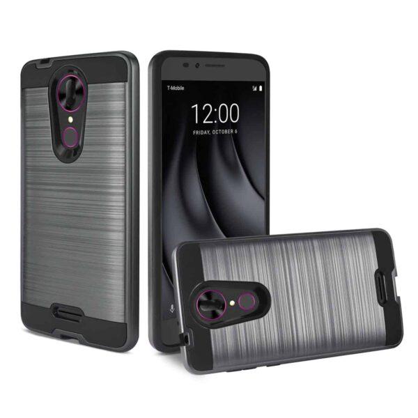 Coolpad REVVL Plus Hybrid Metal Brushed Texture Case In Gray