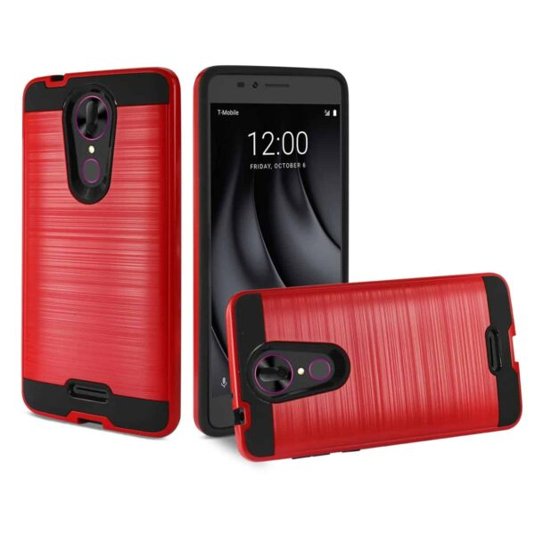 Coolpad REVVL Plus Hybrid Metal Brushed Texture Case In Red