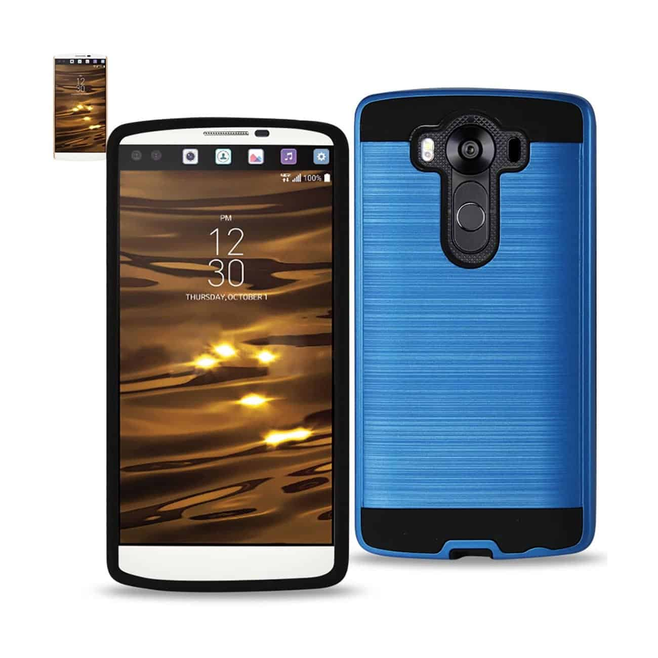 LG V10 HYBRID METAL BRUSHED TEXTURE CASE IN NAVY