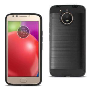 Motorola Moto E4 Plus Hybrid Metal Brushed Texture Case In Black