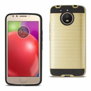 Motorola Moto E4 Plus Hybrid Metal Brushed Texture Case In Gold