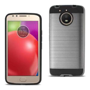 Motorola Moto E4 Plus Hybrid Metal Brushed Texture Case In Gray