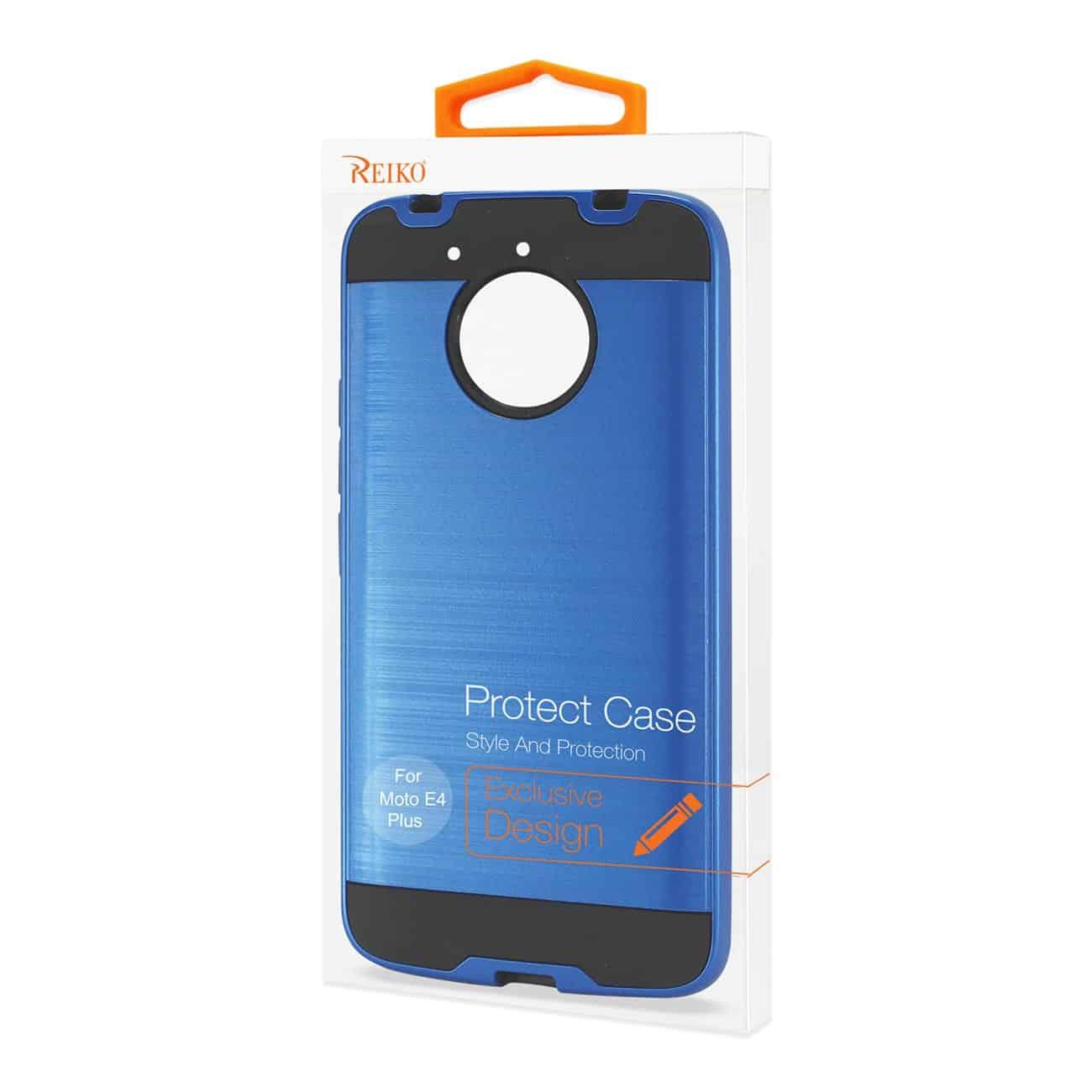 Motorola Moto E4 Plus Hybrid Metal Brushed Texture Case In Navy