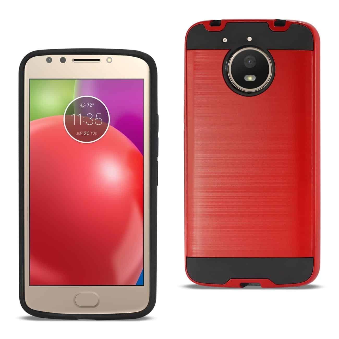 Motorola Moto E4 Plus Hybrid Metal Brushed Texture Case In Red