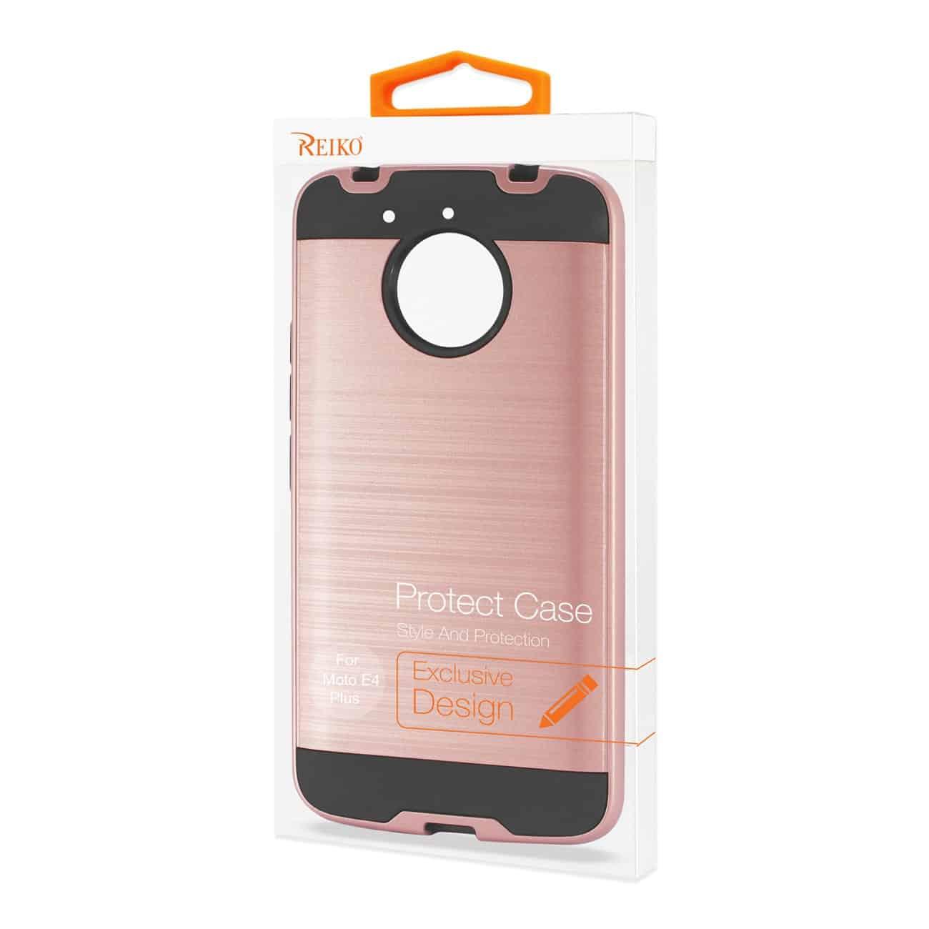 Motorola Moto E4 Plus Hybrid Metal Brushed Texture Case In Rose Gold