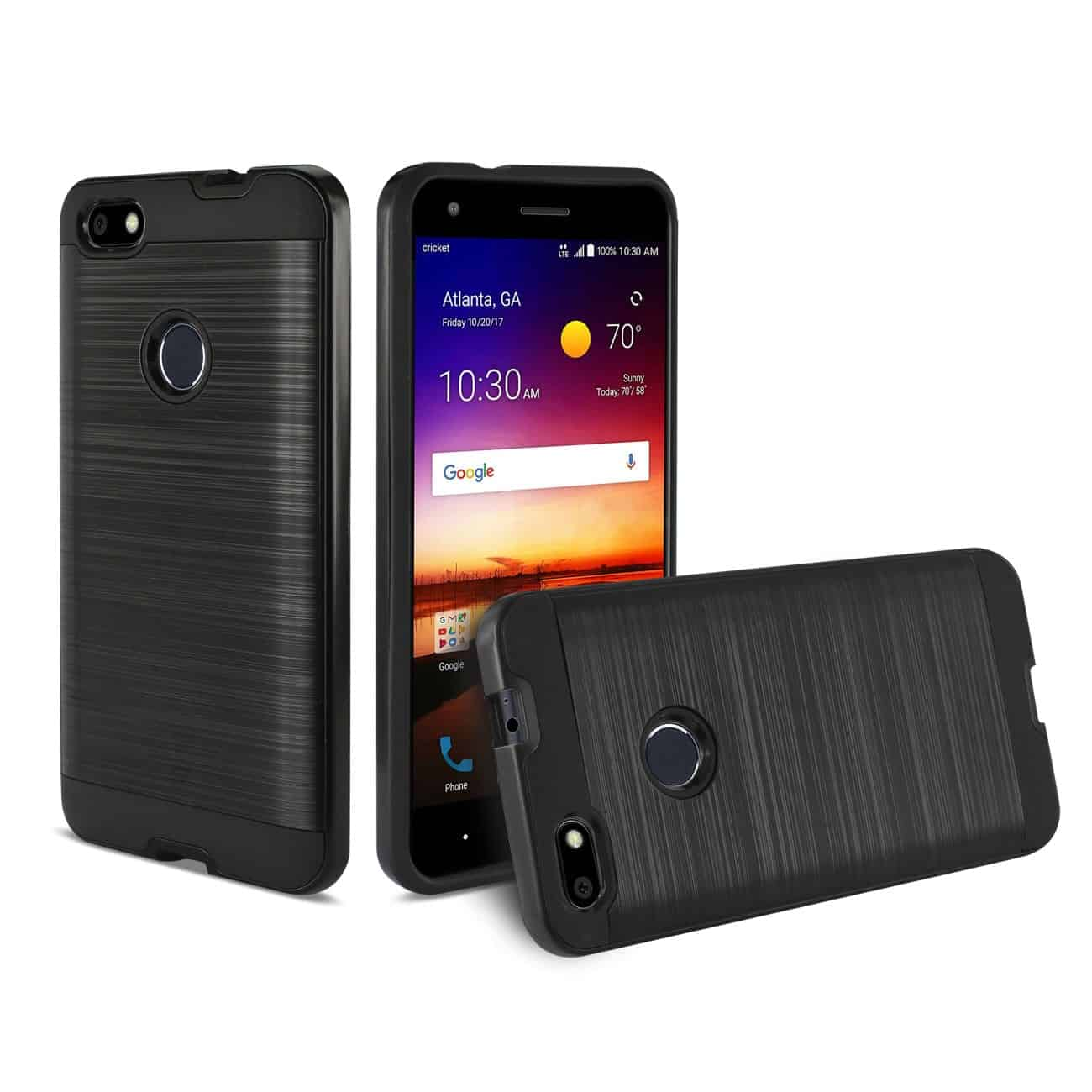 ZTE Blade X Hybrid Metal Brushed Texture Case In Black