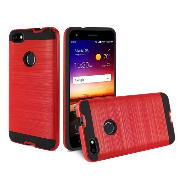 ZTE Blade X / Z965 Hybrid Metal Brushed Texture Case In Red