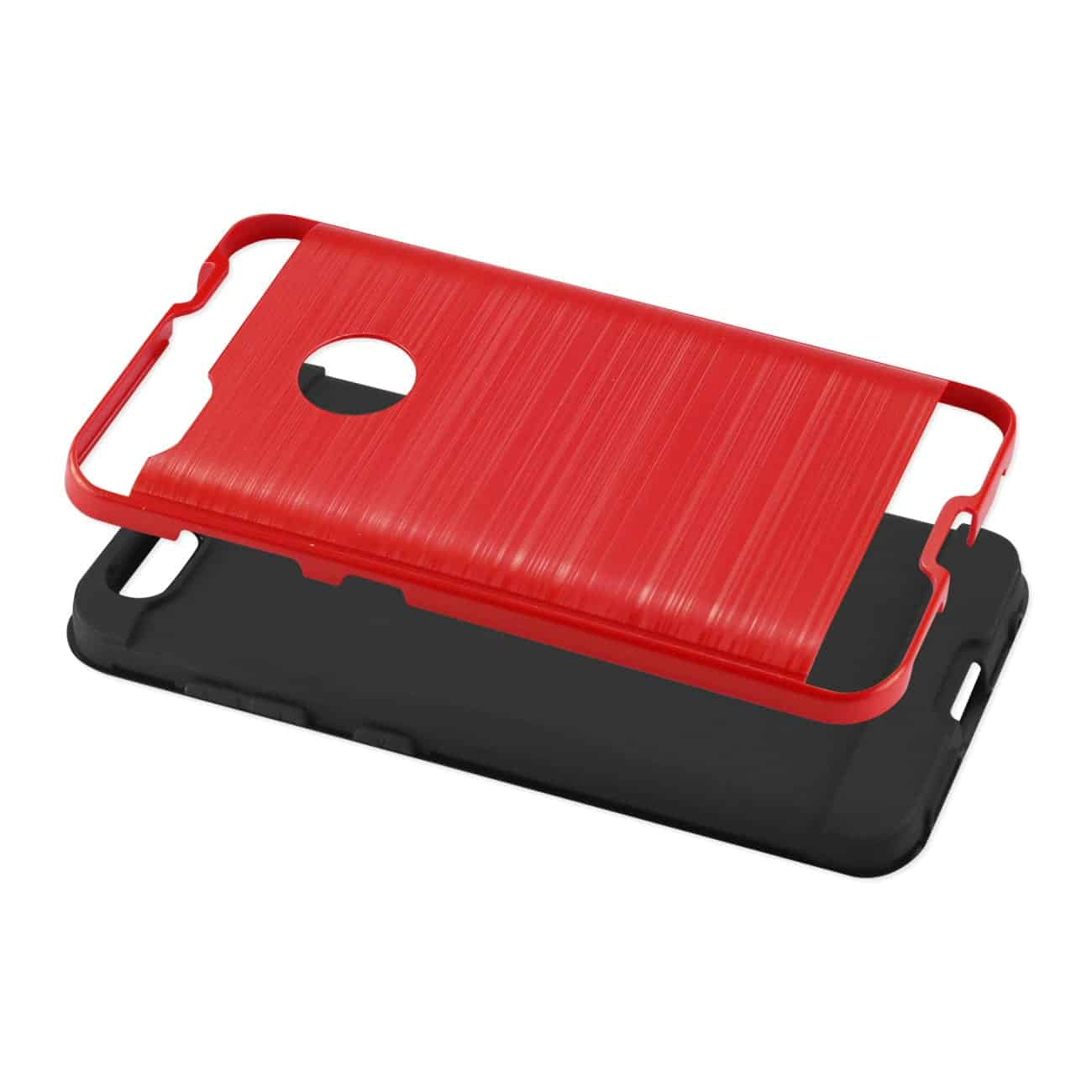 ZTE Blade X / Z965 Hybrid Metal Brushed Texture Case In Red