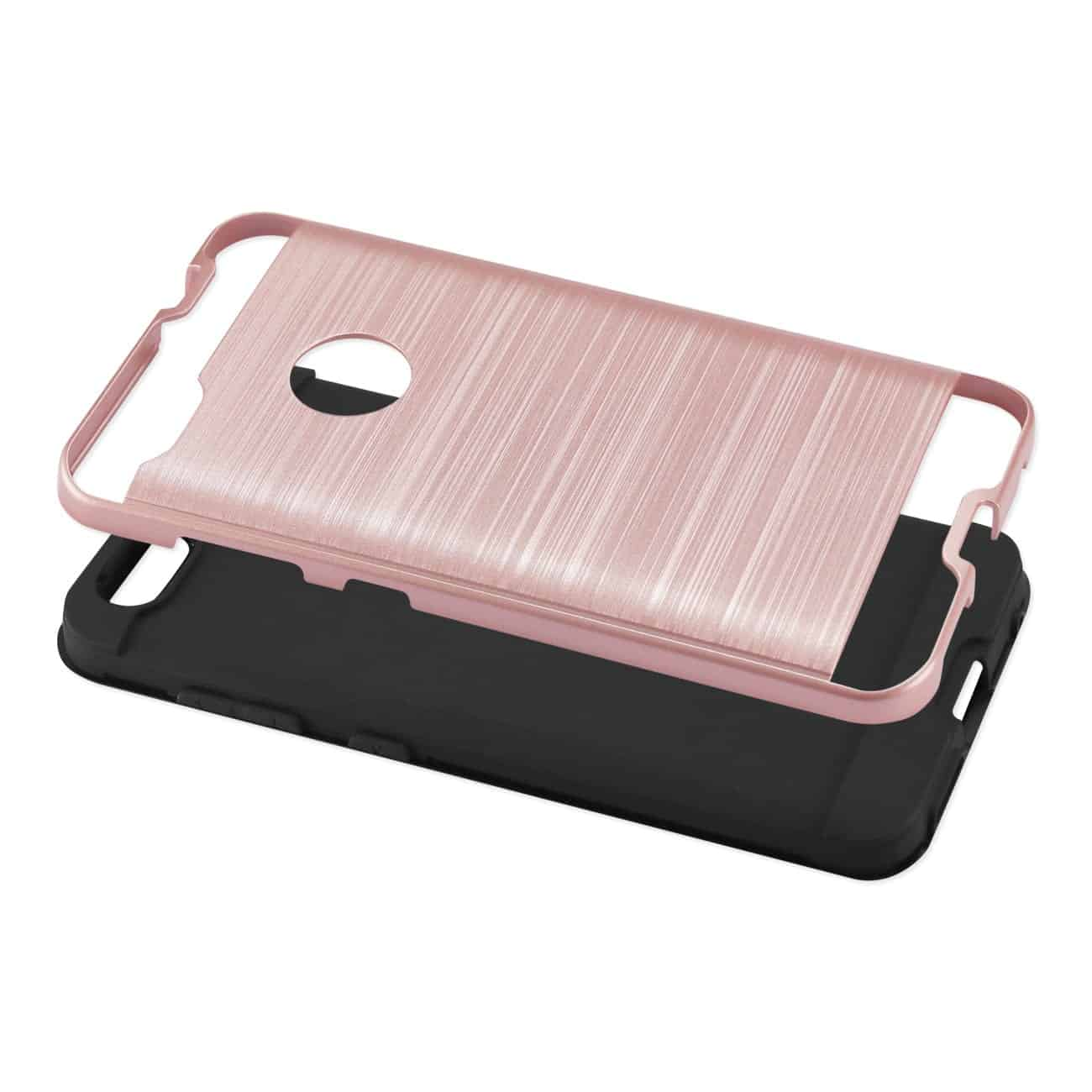 ZTE Blade X / Z965 Hybrid Metal Brushed Texture Case In Rose Gold