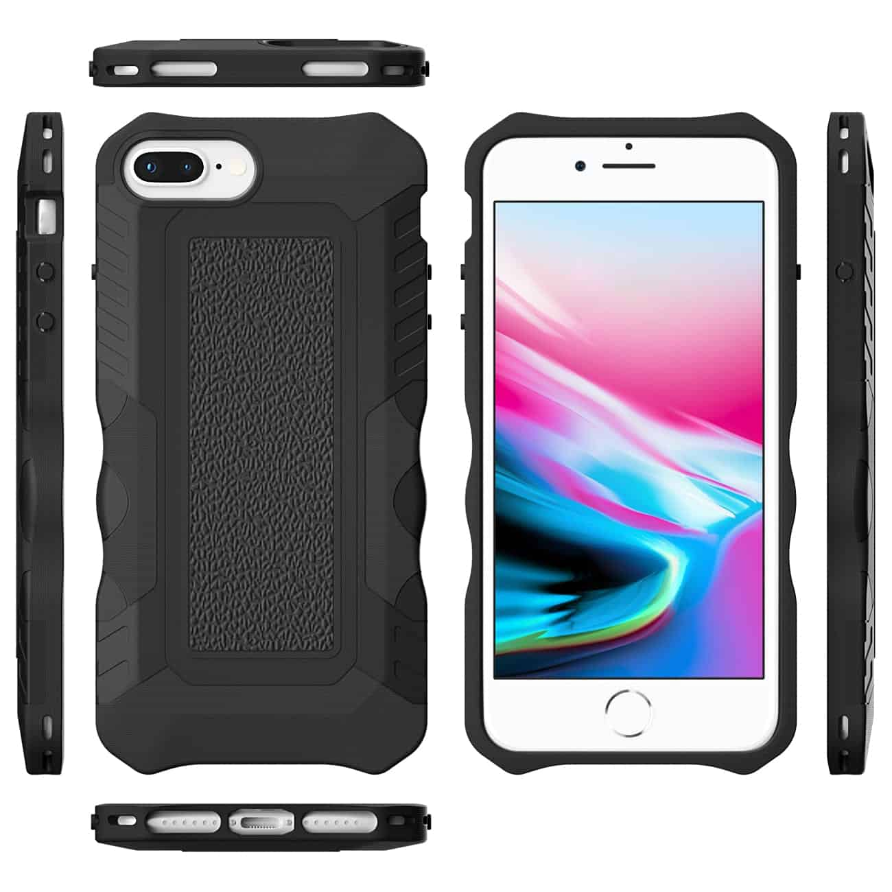 APPLE IPHONE 8 PLUS Slim Shockproof Protective Anti-Slip Heavy duty Case In Black