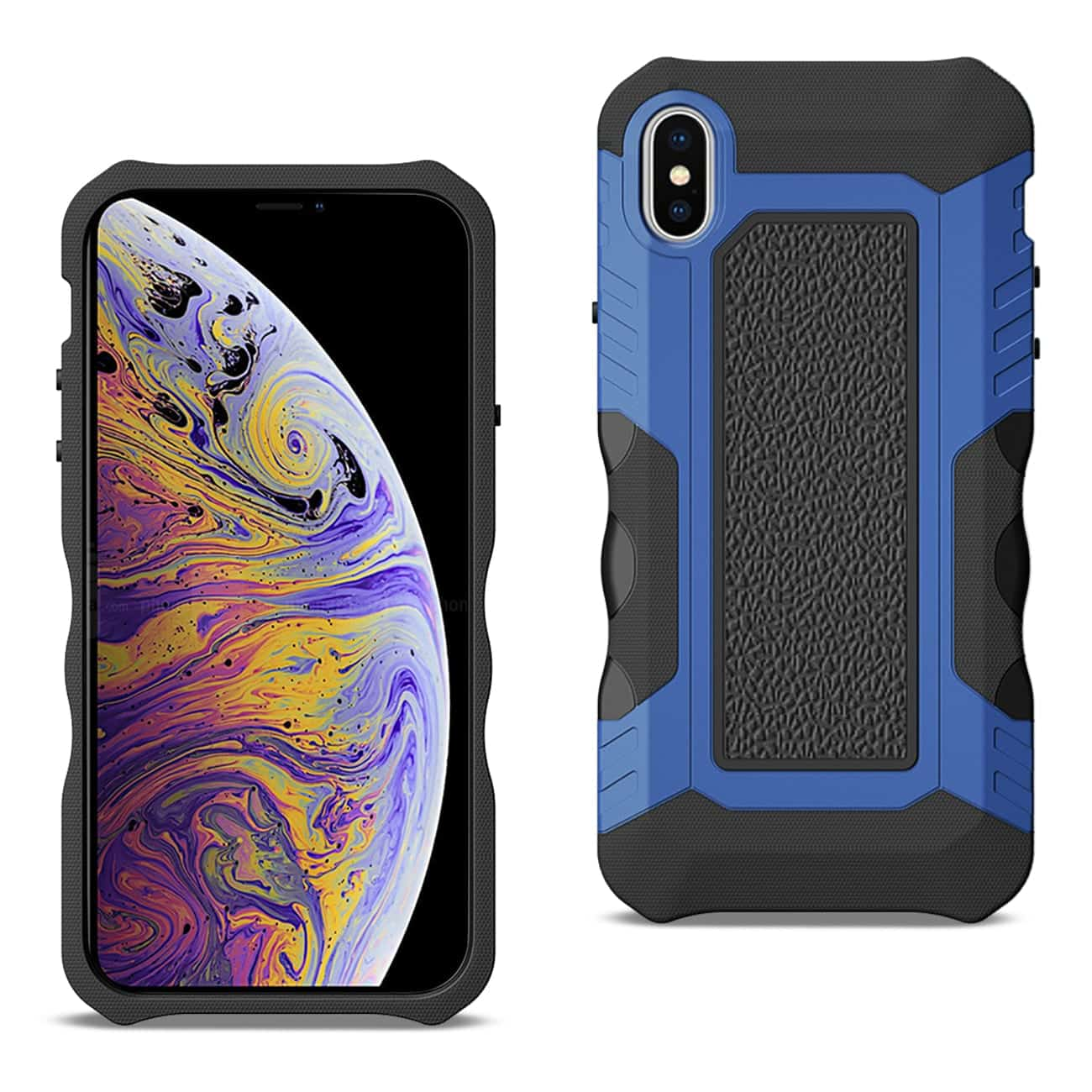APPLE IPHONE XS MAX Slim Shockproof Protective Anti-Slip Heavy duty Case In Black/Blue