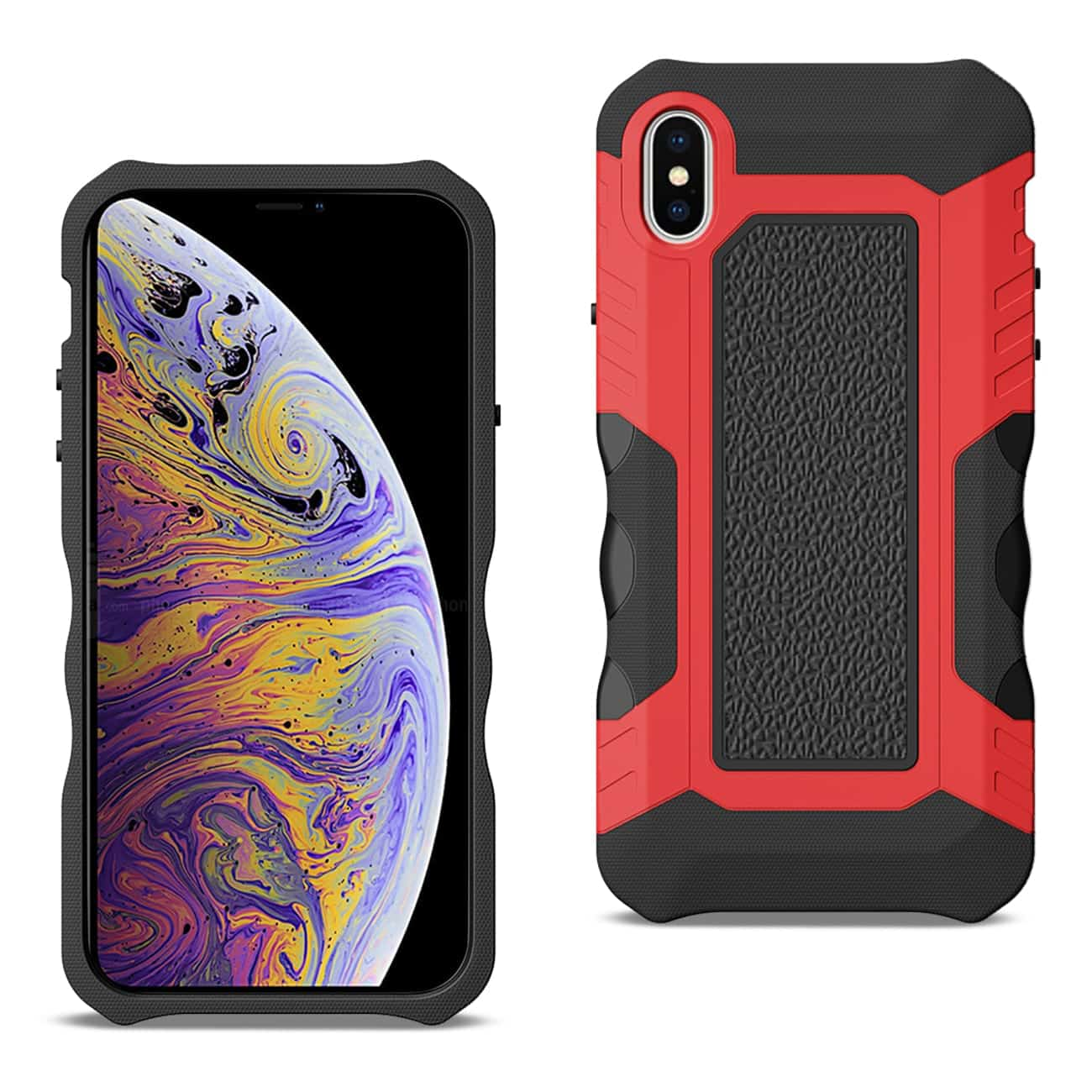 APPLE IPHONE XS MAX Slim Shockproof Protective Anti-Slip Heavy duty Case In Black/Red