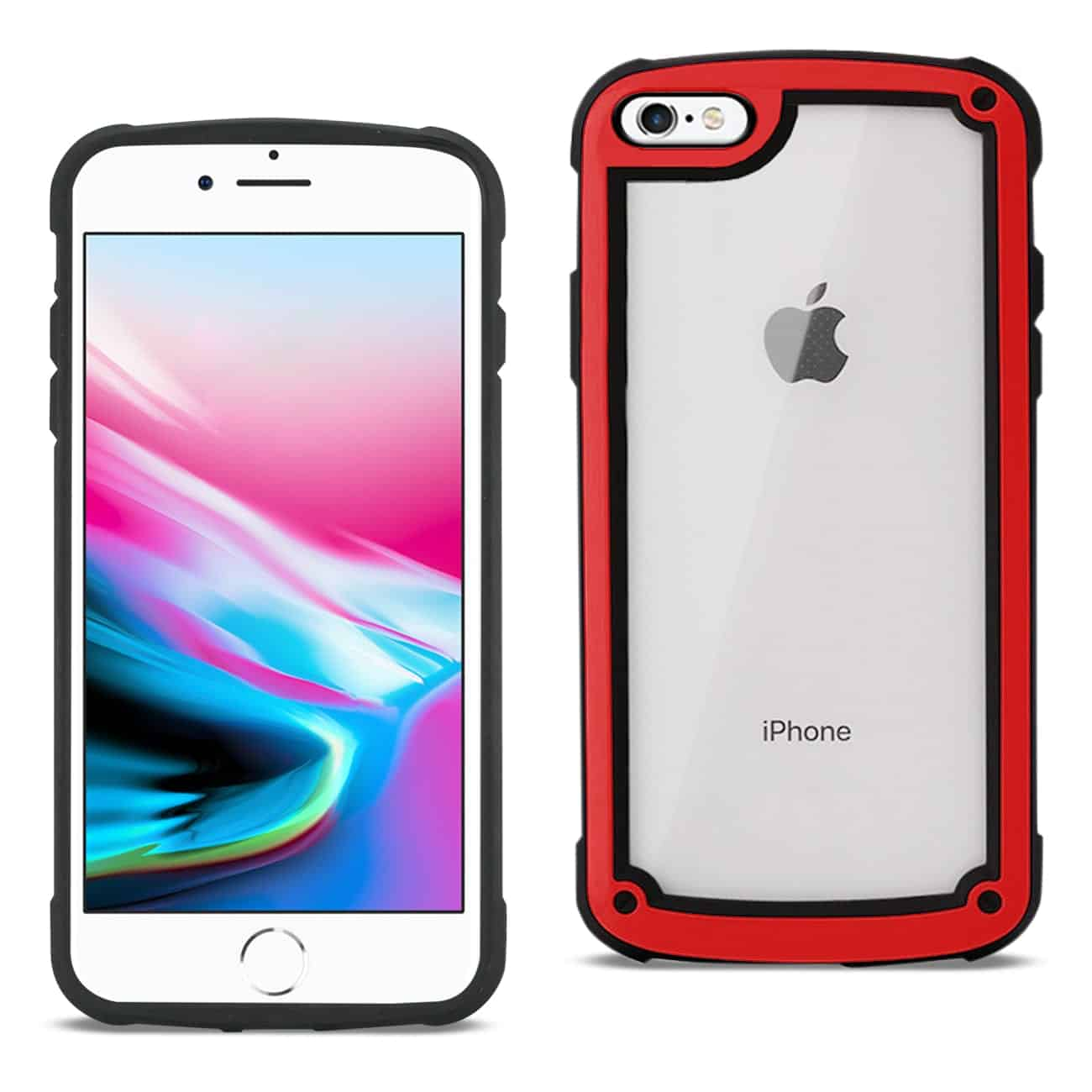 APPLE IPHONE 8 Heavy Duty Rugged Shockproof Full Body Case In Red/Clear